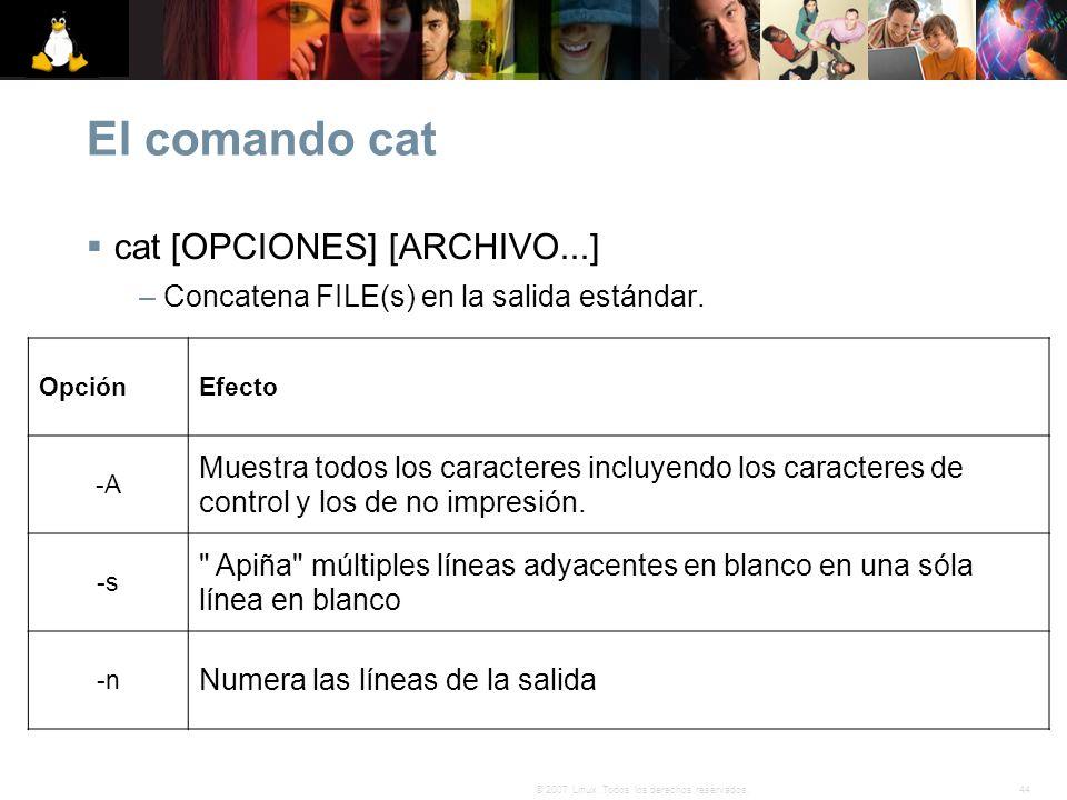 El comando cat cat [OPCIONES] [ARCHIVO...]